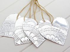 Metal Heart Ornaments Indian Lace Pattern Embossed by FoilingStar, $28.00