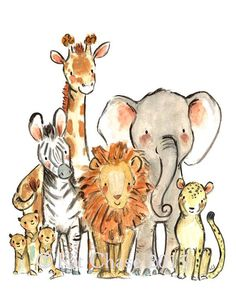 Nursery Art  Wild Safari  by Kit Chase