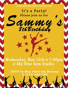 Gymnast Invitation by CreativeSprouts on Etsy