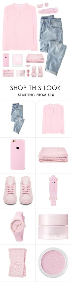 """ On Wednesday's we wear PINK"" by virgo-queen ❤ liked on Polyvore featuring Wrap, Diane Von Furstenberg, abcDNA, adidas, Ice-Watch, SUQQU, Bare Escentuals and Wildfox"