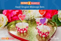 """DIY Massage Bars -  Nothing says """"Be Mine"""" like a heart-shaped massage bar! Celebrate Valentine's Day with @sophieuliano's beauty DIY! Catch Home and Family weekdays at 10/9c on Hallmark Channel!"""