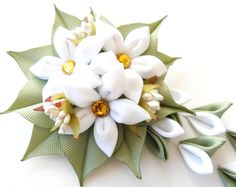 Kanzashi Fabric Flowers hair clip with falls.  White and green kanzashi hair clip.