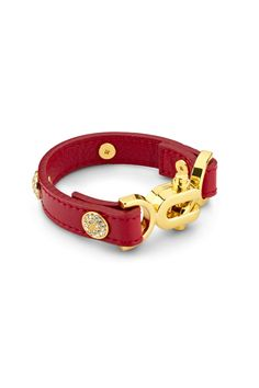 paris burgundy leather bracelet, gold | Lulu Avenue Fashion Jewelry | Lulu Avenue
