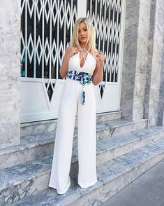 WEBSTA @ natanadeleon - Que tal usar uma faixa estampada para deixar seu macac�o mais casual para o dia? Esse look � todo @richini ?? AMEI! #natanausa #ootd #lookoftheday #jumpsuit #white #summer #richinidodia