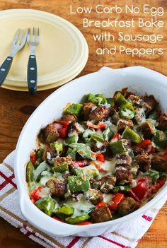 Low Carb No Egg Breakfast Bake with Turkey Breakfast Sausage and Peppers; for people who don't like eggs this is a delicious breakfast option! [from KalynsKitchen.com] #LowCarb #EggFree