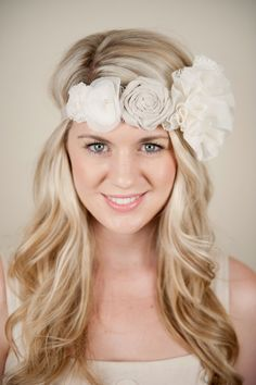 Sewing Basket Headband- Wedding Bridal Hair Accessory Ivory and Beige Fabric Flowers with Lace, Pearl, and Vintage Jeweled accents