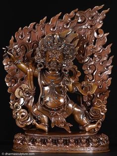 "Vajrapani Statue, Protector of the Buddha 12"" This lost wax method copper sculpture is a one of a kind statue, hand cast by the very talented artists of the beautiful country of Nepal. Every piece is truly unique!"
