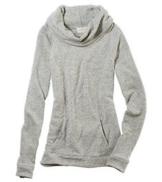 Medium Heather Grey Aerie Cowl Neck Sweatshirt