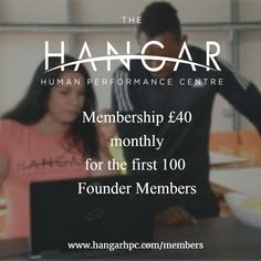 The first 100 Founder Members get the special price of £40 a month which includes all The Hangar classes and full, open gym 6am-9pm - hurry!