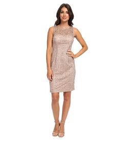 Adrianna Papell Metallic Lace w/ Sequins Rose Gold - Zappos.com Free Shipping BOTH Ways