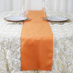in Orange Polyester Table Top Runner Wedding Party Linens Flower Table Decorations, Wedding Reception Table Decorations, Christmas Table Decorations, Wedding Table, Parties Decorations, Wedding Vows, Rustic Wedding, High Dining Table, High Top Tables