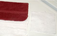 Homemade Color Catchers    Red and white washed together with a color catcher.  White washcloth didn't turn pink.  1 T dry soda ash (found in pool supply area of hardware store)  1 C hot water  When it dissolves... put white cloth in to absorb it.  Hang to dry.  Cut into wet-one sized pieces.  It will absorb all the color from the wash water!  No more dingy clothes :)