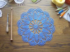 Round Doily in Blue Bamboo Viscose / by ArtisticNeedleWork on Etsy https://www.etsy.com/listing/185286539/round-doily-in-blue-bamboo-viscose?ref=shop_home_active_1