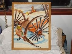 Pheasants /Old Wagon and Barn Fall Needle Work Picture /Not included in Coupon Discount Sale/ by Daysgonebytreasures on Etsy