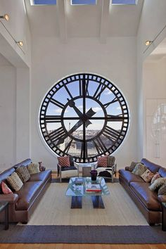 Clock Tower, living room at huge penthouse apartment of 600 sq.m. with a panoramic view of New York City.