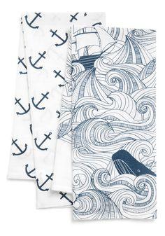 Swell Acquainted Tea Towel Set - Cotton, Blue, Nautical, White, Novelty Print