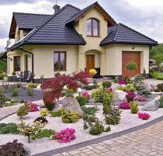 Stone Landscaping, Outdoor Landscaping, Front Yard Landscaping, Beautiful Gardens, Beautiful Homes, Outdoor Garden Decor, Garden Landscape Design, Small Gardens, Dream Garden