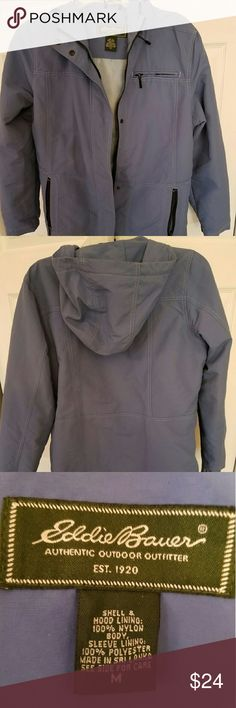 Eddie Bauer Jacket Eddie Bauer jacket in good condition. This is a lightweight jacket with a hood and has an inside pocket. Picture doesn't do it justice it's like a light grey blue in color Eddie Bauer Jackets & Coats Utility Jackets
