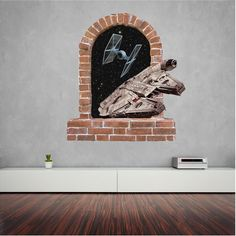 Millennium Falcon brick window wall stickers and decals. Wall Stickers, Decals, Millennium Falcon, Window Wall, Brick, Windows, Wall Clings, Wall Decals, Tags