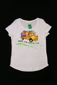 Hand painted T-shirt Surf, jam, live in a van Peace And Love, Surfing, Van, Hand Painted, Live, Sweatshirts, Mens Tops, T Shirt, Clothes
