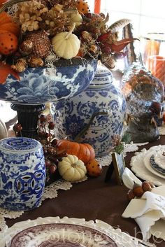 66 Inventive Seasonal Thanksgiving Décor Ideas With Blue