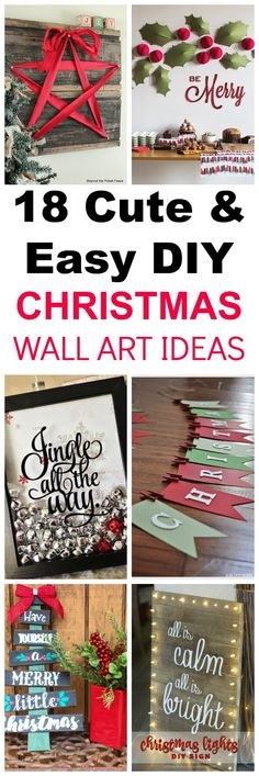18 DIY home decor ideas for Christmas holidays. DIY wall art is a fast, cheap and easy way to make decorations. #crafts #rustic #WallArt #sign #christmasdecor #cozy #diychristmas
