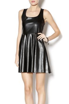 1f82b0d506ad Black fit and flare tank dress made from perforated vegan leather.  Perforated Vegan Dress by Hot Gal. Clothing - Dresses Naples