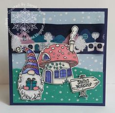 Designed by Sarah Bell using Free Enchanted Corner Stamps from Papercraft Essentials and Night Houses Gnome Ribbon by Crafty Ribbons