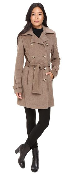 Calvin Klein Double-Breasted Belted Wool Coat (Oatmeal) Women's Coat - Calvin Klein, Double-Breasted Belted Wool Coat, CW580160-269, Apparel Top Coat, Coat, Top, Apparel, Clothes Clothing, Gift - Outfit Ideas And Street Style 2017