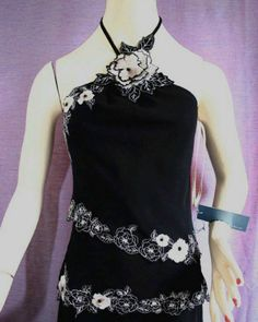 Karen Millen Black Halter Top Embroidered Silk Corsage Size 8 New With Tag Listing in the Karen Millen,Designer,Clothes, Shoes, Accessories Category on eBid United Kingdom