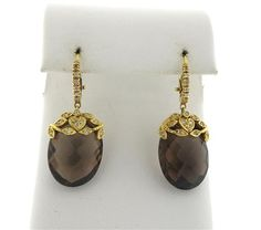 18K Gold Smoky Topaz Diamond Dangle Earrings Featured in our upcoming auction on November 17!