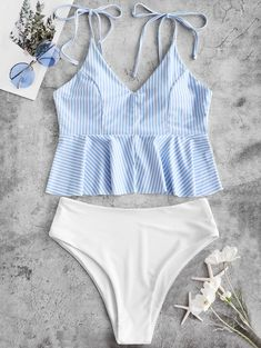 Striped Tie Shoulder Peplum Tankini Swimsuit - In Fashion Hub Bathing Suits For Teens, Summer Bathing Suits, Cute Bathing Suits, Swimwear Sale, Swimwear Fashion, Cute Swimsuits, Women Swimsuits, Modest Swimsuits, Crochet Bathing Suits