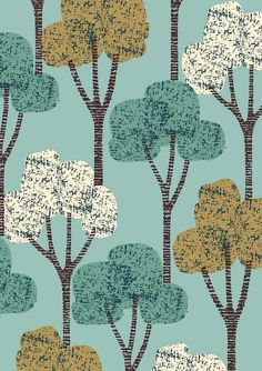 Autumn Trees Teal limited edition giclee print by EloiseRenouf