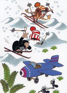 Zdenek Miler, little mole ski motif. Dreamworks, Cartoon Toys, Communism, Mole, Illustrators, Minnie Mouse, Disney Characters, Fictional Characters, Childhood