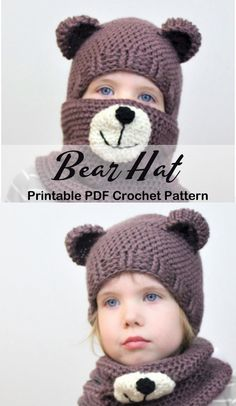 Make a cute bear hat and cowl. Winter Hat Crochet Patterns - animal hat crochet pattern - A More Crafty Life Crochet Bear Hat, Crochet Animal Hats, Crochet Baby Hat Patterns, Crochet Teddy, Knitted Hats, Kids Winter Hats, Kids Hats, Baby Kind, Baby Knitting