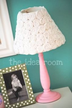 DIY Lamp shade with fabric roses.