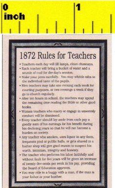 Miniature Victorian 1872 Rules for School Teachers Sign - Dollhouse 1:12 scale