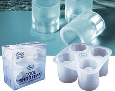 COOL SHOOTERS ICE SHOT GLASS MAKER - Fill the Cool Shooter mold with water or your favorite juice, freeze, and then pop out four fully-formed frozen shot glasses.