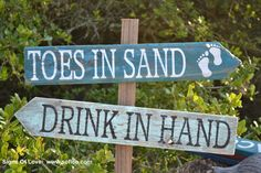Rustic beach wedding signs outdoor toes in sand drink in hand directional arrow old barn driftwood reclaimed city mileage party yard sign mint green turquoise teal sage hand painted
