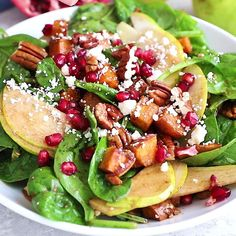 Salad recipes 288371182390285125 - Beautiful and festive roasted sweet potato, pear and pomegranate spinach salad with creamy goat cheese, toasted pecans and a tangy balsamic dressing! Perfect for the holidays. Lunch Recipes, Vegetarian Recipes, Cooking Recipes, Healthy Recipes, Winter Salad Recipes, Spinach Salad Recipes, Dinner Recipes, Healthy Salads, Healthy Eating