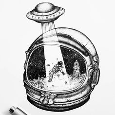 Black and white, Product design, Product, Font - Photo by Alien Drawings, Space Drawings, Cartoon Drawings, Cool Drawings, Astronaut Drawing, Astronaut Tattoo, Astronaut Helmet, Helmet Drawing, Bild Tattoos