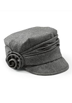 Herringbone Cap with Gathered Band and Side Rose by San Diego Hats®