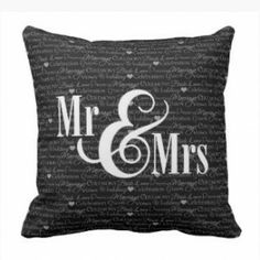 Love & Wedding - Black and White Mr and Mrs Throw Pillow #love #wedding #ido #throwpillows See our full collection - www.prettythrowpillows.com