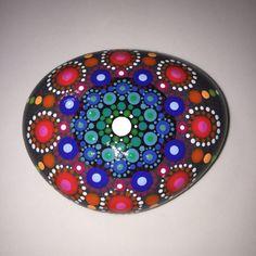 Hand Painted Mandala Stone, Mandala Meditation Stone, Dot Art Stone, Healing Stone, #214...Pretty multi-colored mandala!!