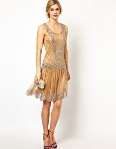 Frock and Frill Sequin Embellished Dress with Deep V Back cream beaded 20's style dress