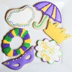 Mardi Gras Cookie set By princessofmarrs on CakeCentral.com