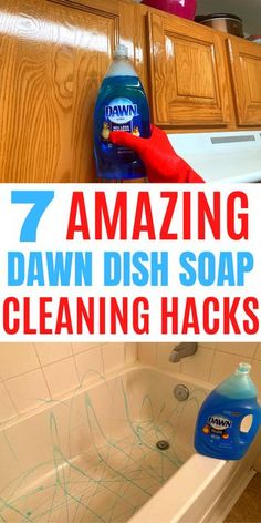 Here are 7 of the best dawn cleaning hacks that will blow your mind.#cleaning hacks #household hacks #dawn hacks Homemade Cleaning Supplies, Diy Home Cleaning, Deep Cleaning Tips, Household Cleaning Tips, Cleaning Recipes, House Cleaning Tips, Natural Cleaning Products, Cleaning Solutions, Spring Cleaning