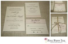 Cream, blush and charcoal wedding invitation suite. Ribbon holds everything together and tag with pattern polishes the look.