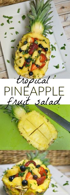 Tropical honey and mint fruit salad - served in a PINEAPPLE! With strawberries, blueberries, and pineapple chunks, this is the perfect summer salad to serve at parties and events, love this presentation