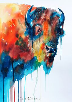 Bison watercolor  painting print 8 x 12   animal by SlaviART, $25.00